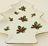 Vintage Lefton Christmas Tree Candy Plate Holiday Dish Gold Rim - Relish Holly