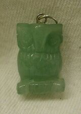 Hand Carved Green Aventurine Owl Pendant 3D from Brazil gemstone stone gem bird