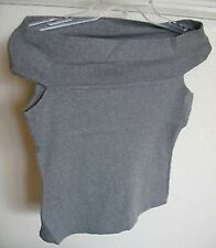 OFF SHOULDER NEW SHIRT HEATHER GRAY NWOT LUX JUNIORS MEDIUM COTTON MADE IN USA
