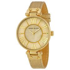 Anne Klein Gold Dial Beige Leather Ladies Watch 1012GMGD