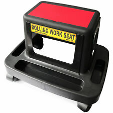 Mechanics Garage Workshop Rolling Creeper Seat Stool With Storage Tray Black/Red