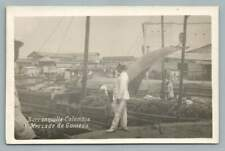 Mercado de Guineos BARRANQUILLA Colombia RPPC Antique Photo Foto~1930s