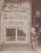 1890s CABINET PHOTO WILMINGTON OH E F MARBLE CLOCK & CYCLONE SOUVENIR SPOON SHOP