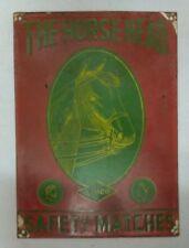 1940s  THE HORSE HEAD MATCH COMPANY -PORCELAIN ENAMEL  SIGN BOARD VERY RARE