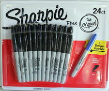 Sharpie 24 Pack Fine Point Black Permanent Marker Pens Plus One
