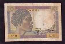 Djibouti French Somaliland 10 Francs 1946  P-19  VG+/ F