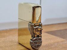 More details for v.rare vintage brass 1995 harley davidson side eagle zippo lighter collection