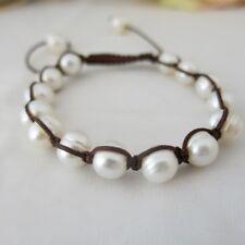 Armband aus echten Perlen Weiß 8-9mm, Shamballa Style, TOP