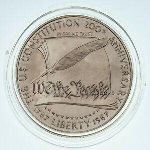 1987 Silver Constitution Dollar Proof Coin w/ Original Box & CoA NOTE: No Gold