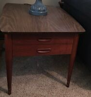 "MidCentury Lane Walnut Retro End Table with Drawer 28""D x 21""W x 20""H Laminate"