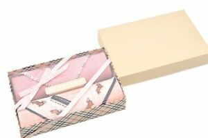 Authentic Burberrys Hand Towel Handkerchief Pink Box 80412