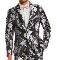INC Mens Suit Separate Black Size Small S Floral Slim Fit Blazer $149 #168