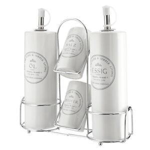 Menage Set Salz Pfeffer Öl Essig Dosierer Weiß Steingut Keramik Streuer Halter