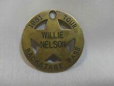 "Rare Vintage 1981 Willie Nelson Tour Backstage Brass Pass Star 2"""