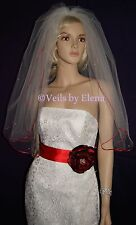 "WEDDING Bridal VEIL Elbow 2Tier 28""Length 72"" Width Pearls Red Satin more colors"
