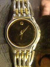 Hübsche Damen Movado Museum Ziffernblatt Schwarz Zweifarbig Gold Silber