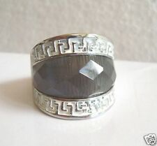 Unusual Design Ladies Dress Ring Silver White .Gray Diamond Pattern Glass  sz 7
