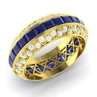 3.50 CT Princesse Saphir Naturel Fiançailles Diamant Bague 14K or Jaune Taille N