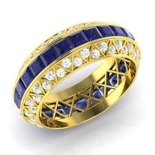 3.50 Ct Princess Sapphire Natural Diamond Engagement Ring 14K Yellow Gold Size G