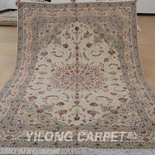 Yilong 6'x9' Handmade Wool Silk Rugs Pictorial Handiwork Floral Area Carpet 1419