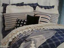 Ralph Lauren AMERICANA Linen Cotton Blue White Plaid Checked Bedskirt - Full