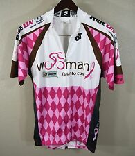 Wooman Tour To Cure Cycling Jersey LARGE Champ-Sys White Pink Full Zip Bike Mens