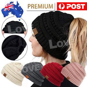 Tail Messy Soft Beanie Bun Hat Ponytail Stretchy Knitted Crochet Skull Women