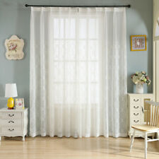 Embroidered Sheer Curtain Voile Window Curtains White Colour 1 PCS 9 Size Option