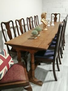Antique Large English Refectory Table 9ft Seats 10 library rectory interior