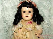 ANTIQUE SIMON & HALBIG SLEEPY EYES OPEN MOUTH VOICE BOX BLACK HAIR 19'' DOLL