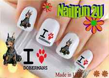 "RTG Set#129 DOG BREED ""Doberman I Heart Paw"" WaterSlide Decals Nail Transfers"