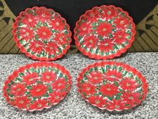 (4) UNUSED 1950s Christmas PIONSETTIA Plastic Party Serving Plates Vintage