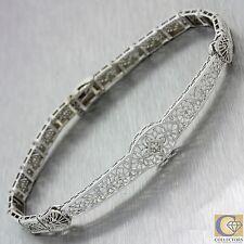 1930s Antique Art Deco 14k Solid White Gold Diamond Filigree Bracelet
