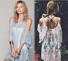 Jen's Pirate Booty x Free People On The Open Road Blue Lace Tunic Dress M/L