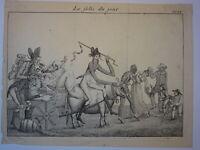 Gravure XVIII CARICATURE FOLIE JOUR MARDI GRAS ORGIE GASTRONOMIE LAVEMENT 1795