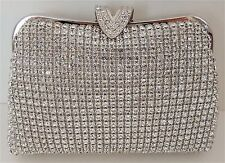 "Crystal Beaded ""V"" Clasp Evening Clutch Handbag Purse - Silver - New!"