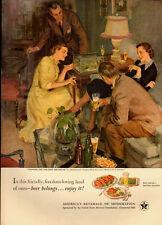 1951 vintage Beer ad, US Brewer's Assoc. Great Art by John Gannam #60-  072313