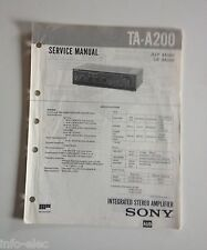 Schema SONY - Service Manual Integrated Stereo Amplifier TA-A200 TAA200