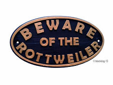 Rottweiler Beware Of The Dog Sign - House Garden Sign Plaque - Black / Gold