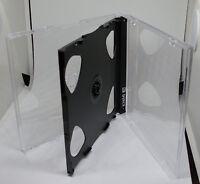 50 CD Hüllen durchsichtig schwarz für 3 CDs DVDs 3-fach Maxi aufklappbar Neu