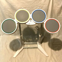 Nintendo Wii Rock Band Wired Drum Set 19092 White No Pedal Untested Cracked