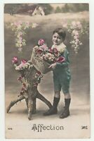 Vintage Postcard Valentine Boy with Flowers Affection Early Photo Card France
