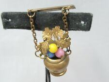 VINTAGE BRASS FLOWER POT PIN GLASS BEADS FLORAL DANGLING GORGEOUS OLD