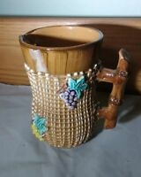 "Antique Majolica Grapes Floral Pitcher Creamer 5""  Vintage NICE POTTERY RARE OLD"