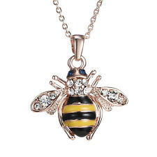 hic Cute Women Ladies Honey Bumblebee Bee Crystal Pendant Chain Necklace Hot*