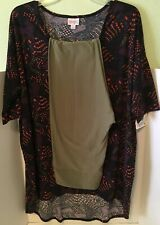 NEW Lularoe Outfit - Large Irma Purple Orange Green + Solid Green TC Leggings