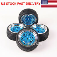 US STOCK 4Pcs Run Flat Tires&Wheel Rim For HSP HPI RC 1:10 On Road Racing Car