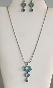 Sterling Silver 925 Fire Opal Amethyst Necklace Earring Set CO Sign