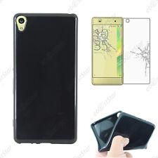 Housse Coque Silicone Gel + Verre Trempé Noir Sony Xperia XA, XA Dual