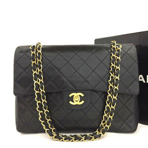 CHANEL Double Flap 25 Quilted CC Logo Lambskin w/Chain Shoulder Bag Black/5024I